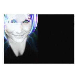 Futuristische glühende Haar-Frau 8,9 X 12,7 Cm Einladungskarte