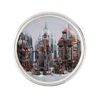 Futuristische Stadt Anstecknadel