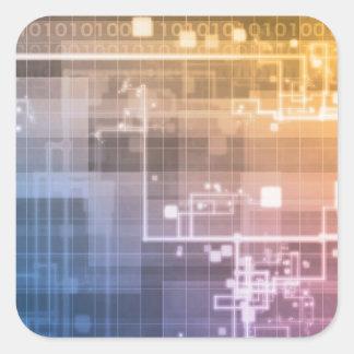 Futuristische Technologie als folgende Quadratischer Aufkleber