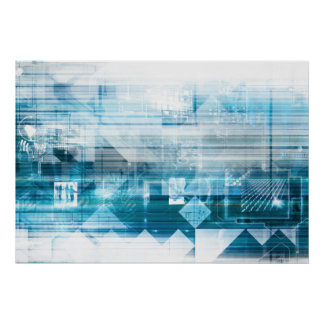 Futuristischer Hintergrund mit der Technologie Poster