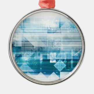 Futuristischer Hintergrund mit der Technologie Rundes Silberfarbenes Ornament