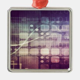 Futuristisches abstraktes Konzept auf Technologie Quadratisches Silberfarbenes Ornament