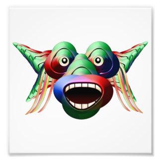 Futuristisches lustiges Monster-Charakter-Gesicht Fotodruck