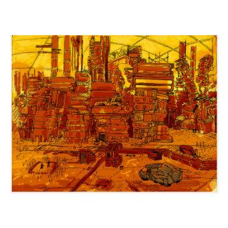 Futuristisches Stadt scape Postkarte