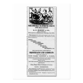 G.F. Bailey u. Co.-doppelte MammutZirkus-Anzeige Postkarte