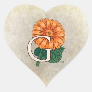 G für Gerberas-Blumen-Monogramm Herz-Aufkleber
