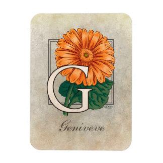 G für Gerberas-Blumen-Monogramm Magnet