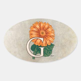 G für Gerberas-Blumen-Monogramm Ovaler Aufkleber