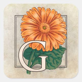 G für Gerberas-Blumen-Monogramm Quadratischer Aufkleber