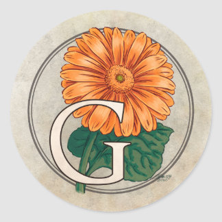 G für Gerberas-Blumen-Monogramm Runder Aufkleber