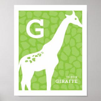 G ist für Giraffen-Alphabet-Plakat Poster