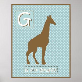 """""""G"""" ist für Giraffen-Kinderzimmer-Plakat Poster"""