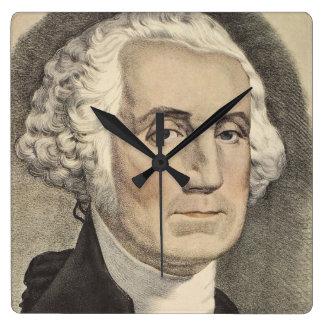 G Washington, Currier und Ives Quadratische Wanduhr