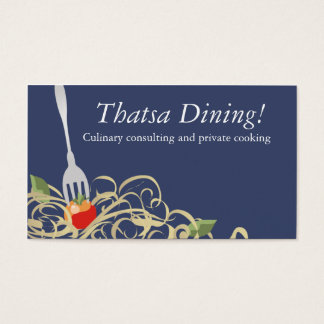 Gabel haftete Tomatespaghetti-Catering b, Thatsa… Visitenkarte
