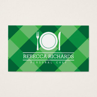 Gabel, Platte, Messer-Logo auf grünem Gingham-Koch Visitenkarte