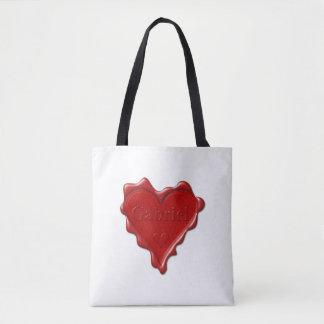 Gabriel. Rotes Herzwachs-Siegel mit Namensgabriel Tasche