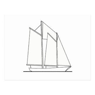 Gaff-Manipuliertes Schooner-Segelboot (Segelplan) Postkarte