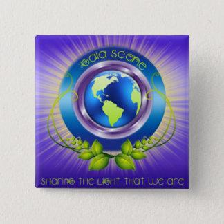 Gaia-Szenen-Quadrat-Logo-Knopf Quadratischer Button 5,1 Cm