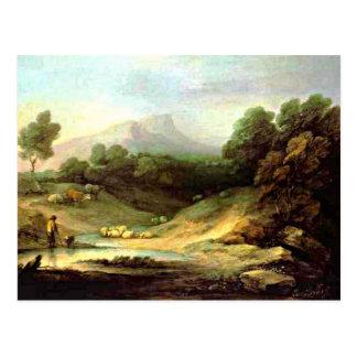 Gainsborough - Gebirgslandschaft mit Schäfer Postkarte