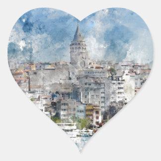Galata Turm in Istanbul die Türkei Herz-Aufkleber