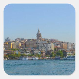 Galata Turm in Istanbul die Türkei Quadratischer Aufkleber
