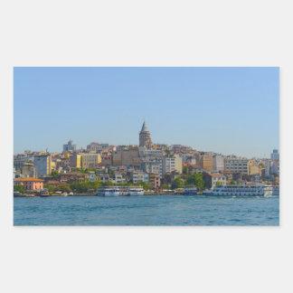 Galata Turm in Istanbul die Türkei Rechteckiger Aufkleber