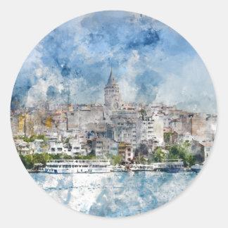 Galata Turm in Istanbul die Türkei Runder Aufkleber