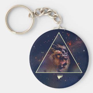 Galaxie-Dreieck-Löwe-Kopf - Trendium authentisch Standard Runder Schlüsselanhänger