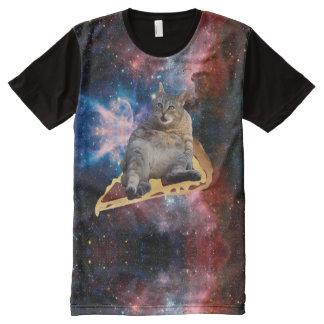 Galaxie-Katze, die auf Pizza surft T-Shirt Mit Komplett Bedruckbarer Vorderseite