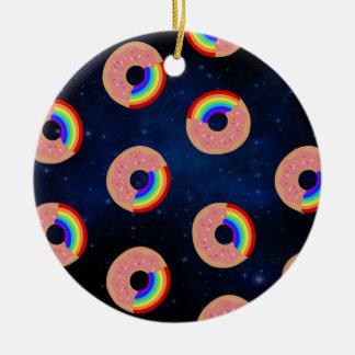 Galaxie-Krapfen-Regenbogen Rundes Keramik Ornament
