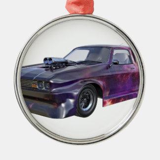 Galaxie-lila Muskel-Auto 2016 Rundes Silberfarbenes Ornament