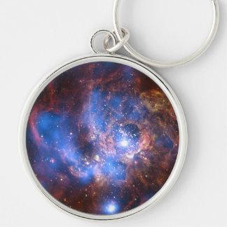Galaxie M-33 Silberfarbener Runder Schlüsselanhänger