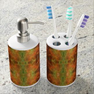 Galaxie orange und grün Badezimmer-Set