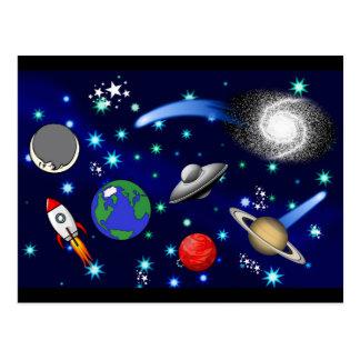 Galaxie-Universum - Planeten, Sterne, Kometen, Postkarte