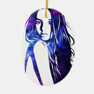 Galaxy woman - Frau Galaxie Keramik Ornament
