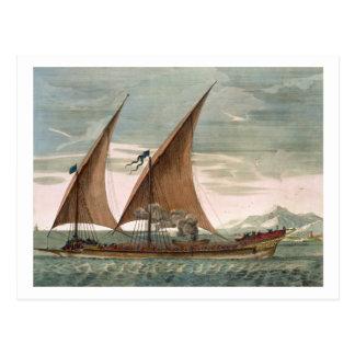Galeere unter Segel, fliegender Standard des Postkarte