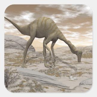 Gallimimus Dinosaurier - 3D übertragen Quadratischer Aufkleber