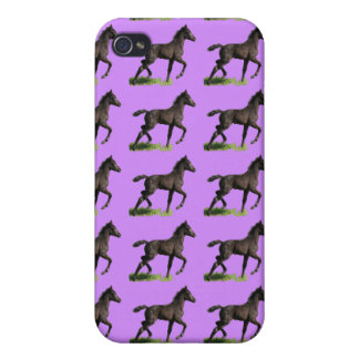 Galoppierende schwarze Colt-Baby-Pferdekunst iPhone 4 Cover