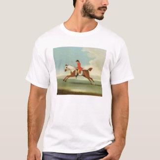 Galoppierendes Rennpferd und angebrachter Jockey T-Shirt
