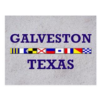 Galveston Seeflagge - Sand-Postkarte Postkarte