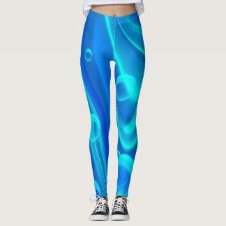 Gamaschen-Blaue, helle Blasen/abstrakte Kunst Leggings