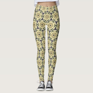 Gamaschen Damen-Banks Yellow Rose Pattern Leggings