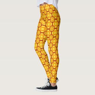 Gamaschen-geometrisches Rot #318 u. Gold Leggings