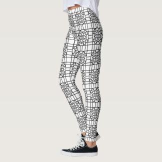 Gamaschen geometrisches Schwarzes #318 u. Weiß Leggings