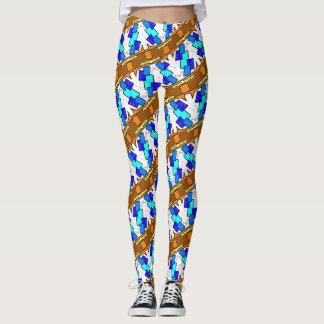 Gamaschen Jimette blaues und braunes Design auf Leggings