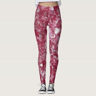 Gamaschen mit roze, rosa Quarzmineralmuster Leggings