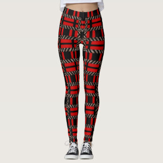 Gamaschen-roter schwarzer karierter Frauen Leggings