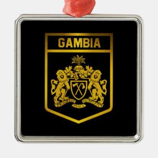 Gambia-Emblem Quadratisches Silberfarbenes Ornament