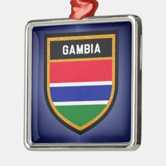 Gambia-Flagge Quadratisches Silberfarbenes Ornament