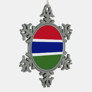 Gambia-Flagge Schneeflocken Zinn-Ornament